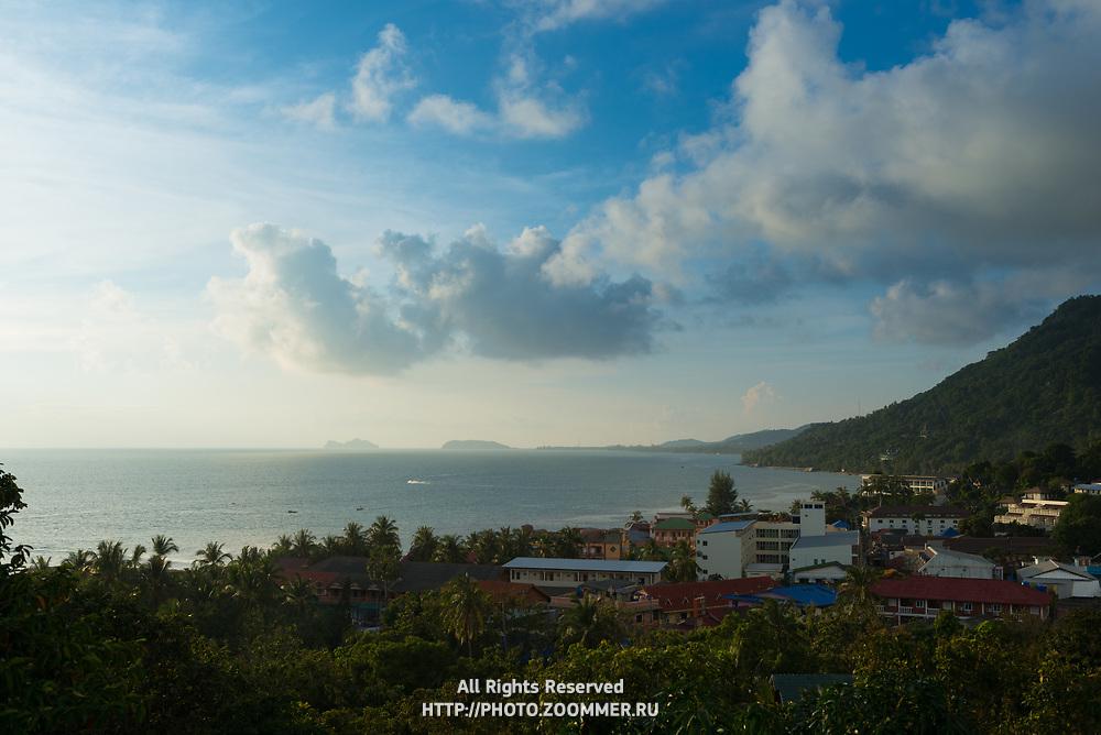 Aerial view of Phangan island and beach at sunset, Thailand
