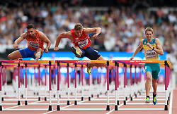 Netherland's Eelco Sintnicolaas, Czech Republic's Adam Sebastian Helcelet and Australia's Cedric Dubler in the 110m Hurdles element of the Men's Decathlon during day nine of the 2017 IAAF World Championships at the London Stadium. PRESS ASSOCIATION Photo. Picture date: Saturday August 12, 2017. See PA story ATHLETICS World. Photo credit should read: Adam Davy/PA Wire. RESTRICTIONS: Editorial use only. No transmission of sound or moving images and no video simulation.