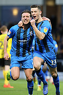 Gillingham midfielder Callum Reilly scores Gillingham's second goal from the penalty spot and celebrates during the EFL Sky Bet League 1 match between Burton Albion and Gillingham at the Pirelli Stadium, Burton upon Trent, England on 12 January 2019.