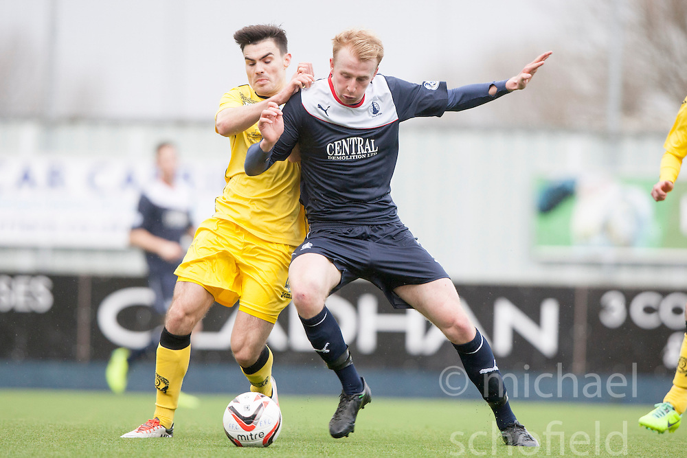 Queen of the South's Ian McShane and Falkirk's Mark Beck.<br /> Half time : Falkirk 0 v 0 Queen of the South, Scottish Championship game today at the Falkirk Stadium.<br /> © Michael Schofield.