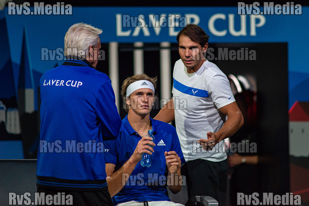 GENEVA, SWITZERLAND - SEPTEMBER 21: Alexander Zverev of Team Europe and Rafael Nadal of Team Europe reacts during Day 2 of the Laver Cup 2019 at Palexpo on September 21, 2019 in Geneva, Switzerland. The Laver Cup will see six players from the rest of the World competing against their counterparts from Europe. Team World is captained by John McEnroe and Team Europe is captained by Bjorn Borg. The tournament runs from September 20-22. (Photo by Monika Majer/RvS.Media)