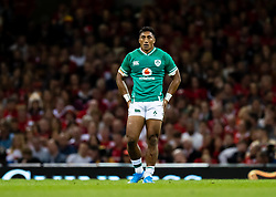 Bundee Aki of Ireland<br /> <br /> Photographer Simon King/Replay Images<br /> <br /> Friendly - Wales v Ireland - Saturday 31st August 2019 - Principality Stadium - Cardiff<br /> <br /> World Copyright © Replay Images . All rights reserved. info@replayimages.co.uk - http://replayimages.co.uk
