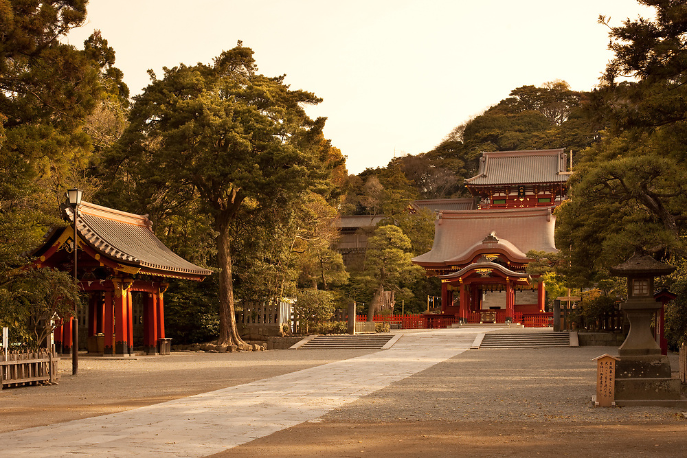 Kamakura, Kanagawa Prefecture, Greater Tokyo Area, Japan - April 13, 2010: The traditional architecture of the Tsurugaoka Hachimangu Shrine.