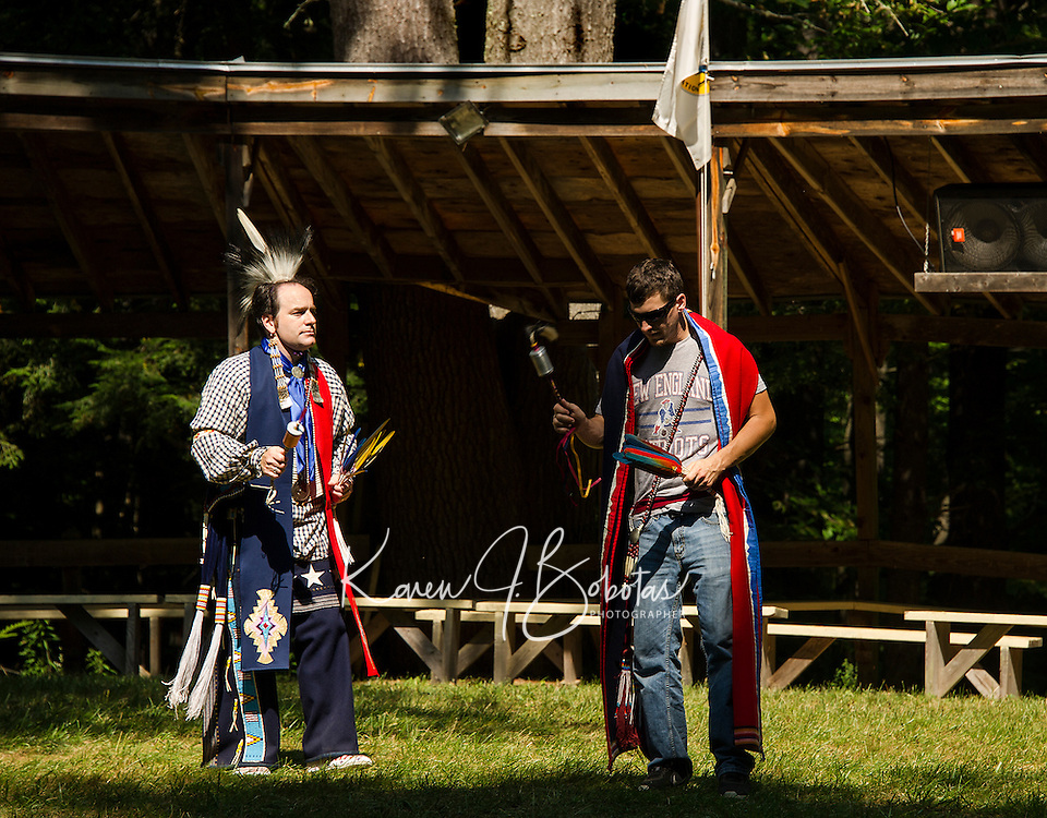 Andy Koss and Chris Tate during the Gourd dance at the Laconia Indian Historical Assocation's Pow Wow in Sanbornton on Sunday afternoon.  (Karen Bobotas/for the Laconia Daily Sun)