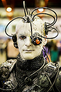 Thor Pendragon (xxgargoylexx@live.co.uk), 42 from Stoke, plays a Borg from Star Trek. London Film and Comic Con 2014, (LFCC), at Earls Court, London, UK.