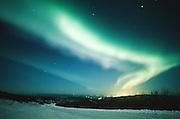 Alaska. Northern Lights , Aurora borealis, light up the night, sky over Fairbanks.