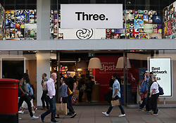 A view of mobile network Three branch at Oxford Street, London. Picture dated: Thursday September 13, 2018. Photo credit should read: Isabel Infantes / EMPICS Entertainment.