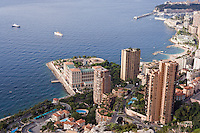 Panoramic view of Montecarlo, the Larvotto Marine Reserve is just in front of the beach covering the small peninsula with the buildings, Larvotto Marine Reserve, Monaco, Mediterranean Sea<br /> Mission: Larvotto marine Reserve