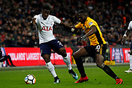 Serge Aurier of Tottenham Hotspur (L) in action with Frank Nouble of Newport County (R). The Emirates FA Cup, 4th round replay match, Tottenham Hotspur v Newport County at Wembley Stadium in London on Wednesday 7th February 2018.<br /> pic by Steffan Bowen, Andrew Orchard sports photography.