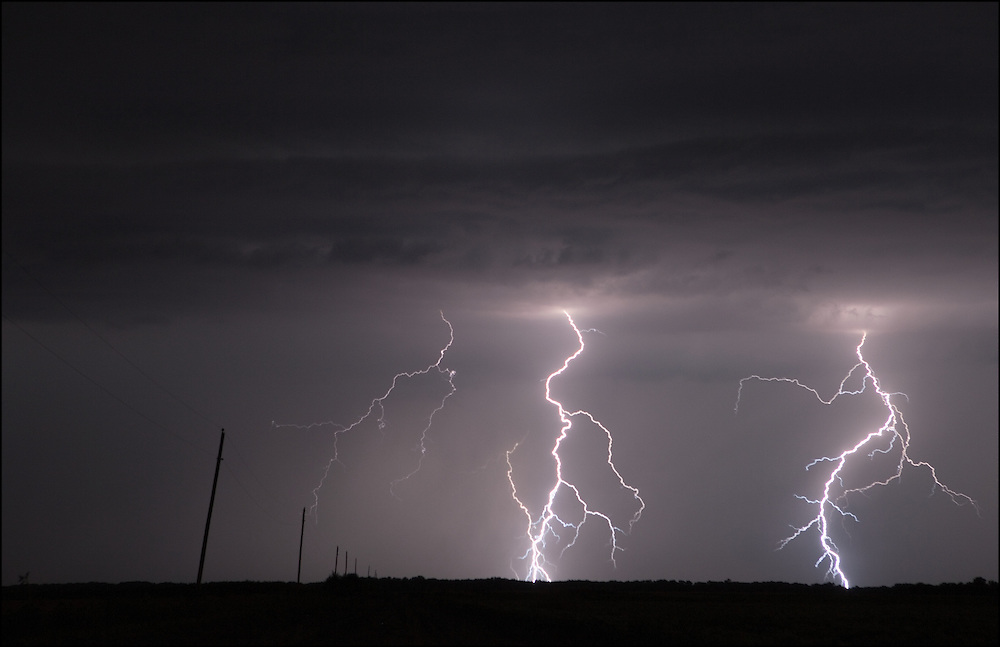 A lightning storm created multiple strikes just north of Salina, Kansas near Niles, Kansas.