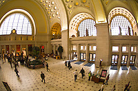 Overview of the ornate interior of Union Station (train station), Washington D.C., U.S.A.