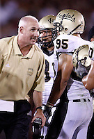 1 September 2007: Vandals head coach Robb Akey talks with #95  Aaron Lavarias during  USC Trojans college football team defeated the Idaho Vandals 38-10 at the Los Angeles Memorial Coliseum in CA.  NCAA Pac-10 #1 ranked team first game of the season.
