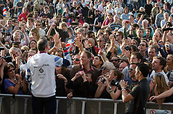 © Licensed to London News Pictures. 03/08/2012. London, UK. Etienne Stott of the Team GB Olympic Canoeing meets fans at BT London Live, Hyde Park.  Etienne Stott and Tim Baillie won Gold in the Canoe Slalom Double.  Photo credit : Richard Isaac/LNP