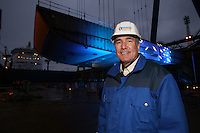 Royal Caribbean International 'Project Genesis' keel laying ceremony in Turku, Finland....The worlds largest cruise ship, currently known as Project Genesis ,  has it's first segment layed in dry Dock in Turku Finland today. The ship is due to be compleated in autumn 2009 and will be 40% bigger than the current world largest cruise ship also owned by Royal Caribbean International...Richard Fain, Chairman Royal Caribbean Cruises LTD, infront of the first segment of Project Genesis to be laid in the dry dock in Turku, Finland.