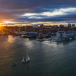 Aerial view of the waterfront in Portland, Maine at sunset.