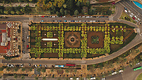 Aerial view of wonderfully green and beautifully organised Jardines de Pedro Luis Alonso, Malaga, Spain