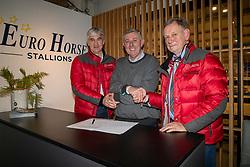 Contract ondertekening Eurohorse, Eerdekens Rudy, Verlooy Axel, Bouters Jozef<br /> BWP Hengstenkeuring -  Lier 2020<br /> © Hippo Foto - Dirk Caremans<br />  18/01/2020