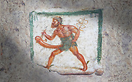 Pompeii Roman Erotic Fresco of Mercury with a massive phalus rom Naples National Archaeological Museum, 1st cent AD , workshop Banner .<br /> <br /> If you prefer to buy from our ALAMY PHOTO LIBRARY  Collection visit : https://www.alamy.com/portfolio/paul-williams-funkystock - Scroll down and type - Roman Art Erotic  - into LOWER search box. {TIP - Refine search by adding a background colour as well}.<br /> <br /> Visit our ROMAN ART & HISTORIC SITES PHOTO COLLECTIONS for more photos to download or buy as wall art prints https://funkystock.photoshelter.com/gallery-collection/The-Romans-Art-Artefacts-Antiquities-Historic-Sites-Pictures-Images/C0000r2uLJJo9_s0