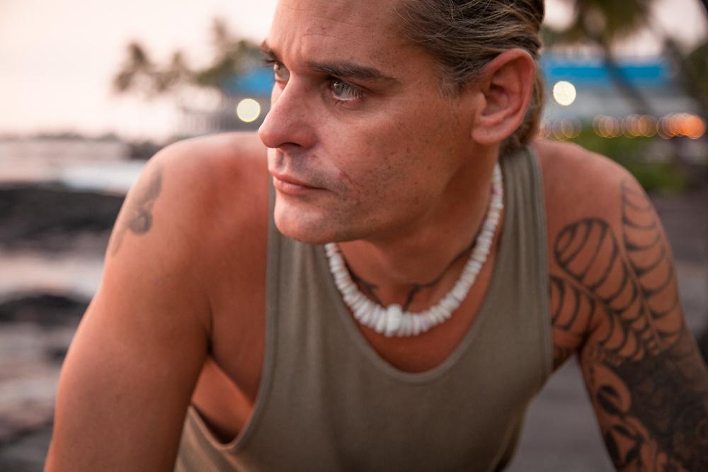 Concrete mason, James Ellerson of Antioch, HI, on a visit to Kialua, Kona, Hawaii