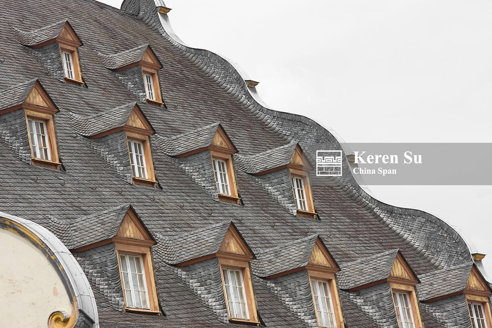 Roof details of St. Florin's Church, Koblenz, Germany
