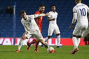 John Swift, England U21 beats off Leonardo Bertone, Swiss U21 International during the UEFA European Championship Under 21 2017 Qualifier match between England and Switzerland at the American Express Community Stadium, Brighton and Hove, England on 16 November 2015. Photo by Phil Duncan.