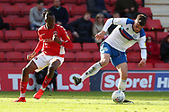 Rochdale defender Ryan Delaney (5) talking Charlton Athletic midfielder Joe Aribo (17) during the EFL Sky Bet League 1 match between Charlton Athletic and Rochdale at The Valley, London, England on 4 May 2019.