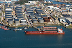 Aerial view of barges and ships in the Port of Houston