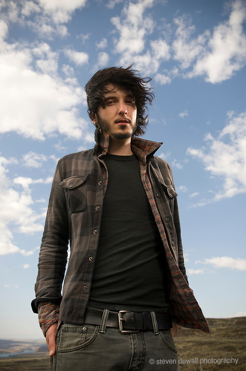 George, WA. - May 27th, 2012 Jordan Cook of Reignwolf poses for a portrait backstage at the Sasquatch Music Festival in George, WA. United States