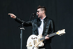 "© Licensed to London News Pictures. 07/06/2013. London, UK.   James Fray of The Courteeners performing live at Finsbury Park, supporting headliner The Stone Roses.   The Courteeners are an English indie rock band formed in Middleton, Greater Manchester in 2006 by Liam James Fray (guitar/vocals), Michael Campbell (drums/backing vocals), Daniel ""Conan"" Moores (guitar), and Mark Joseph Cuppello (bass).  Photo credit : Richard Isaac/LNP"