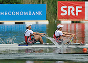 Lucerne, SWITZERLAND.  CAN M2- Bow, Dave CALDER and Scott FRANDSEN silver medalist,  final of the men's pair.  2012 FISA World Cup II, Lucerne Regatta.  Rotsee  Rowing Course,  Sunday  27/05/2012    [Mandatory Credit Peter Spurrier/ Intersport Images]