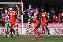 Bristol City's Aaron Wilbraham clears the ball - Photo mandatory by-line: Dougie Allward/JMP - Mobile: 07966 386802 - 07/03/2015 - SPORT - Football - Crawley - Broadfield Stadium - Crawley Town v Bristol City - Sky Bet League One