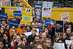 © Licensed to London News Pictures. 24/03/2018. London, UK. Demonstrators hold a protest outside the new US Embassy in support of the US March For Our Lives US Gun control. Photo credit: Ray Tang/LNP