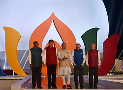 October 15, 2016 - Goa, India - Leaders stand for a group photo wearing traditional Indian vests during a informal dinner at the start of the BRICS Summit at the Taj Exotica Hotel October 15, 2016 in Goa, India. Leaders from left to right are: South African President Jacob Zuma, Chinese President Xi Jinping, Indian Prime Minister Narendra Modi, Russian President Vladimir Putin and Brazilian President Michel Temer. (Credit Image: © Lalit Kumar/Planet Pix via ZUMA Wire)