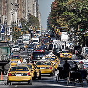 Looking northward along Central Park West in Manhattan, NYC.
