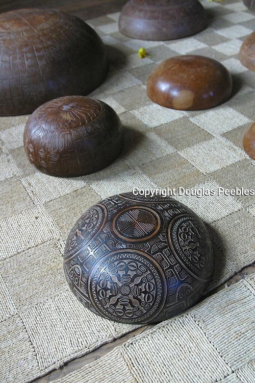 Carved bowls, Omoa village, Fatu Hiva, Marquesas, French Polynesia<br />