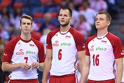 Artur Szalpuk, Bartosz Kurek, Lukasz Wisniewski of Poland during the CEV Volleyball European Championship game Poland - Slovenia on August 30, 2017 in Krakow, Poland. (Photo by Krzysztof Porebski / Press Focus)