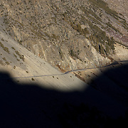 Late afternoon shadows from Yosemite fall across Tioga Pass. Extremely rare, warm weather in the Eastern Sierras resulted in SR 120 into Yosemite National Park remaining open into January and reopening in early May. It's been over 80 years since Tioga Pass was open this late into January.