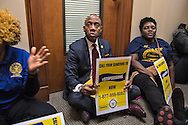 NAACP President, Cornell William Brooks and five other members of the civil rights group that  occupied Sessions' office on Jan 3, along with a group of others, occupied the hallway outside Sessions' office (which was closed toda) before being arrested again.