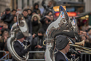 Marching bands pass through Piccadilly - The New Years day parade passes through central London form Piccadilly to Whitehall. London 01 Jan 2017