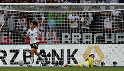 05.07.2011, Borussia-Park, Moenchengladbach, GER, FIFA Women Worldcup 2011, Gruppe A,  Frankreich (FRA) Deutschland (GER) ,. im Bild Celia Okoyino Da Mbabi (GER) freut sich über das 2:0 durch Inka Grings , Torhüterin Berangere Sapowicz (FRA) am Boden . // during the FIFA Women´s Worldcup 2011, Pool A,France vs Germany on 2011/06/26, Borussia-Park, Moenchengladbach, Germany. EXPA Pictures © 2011, PhotoCredit: EXPA/ nph/  Karina Hessland       ****** out of GER / CRO  / BEL ******
