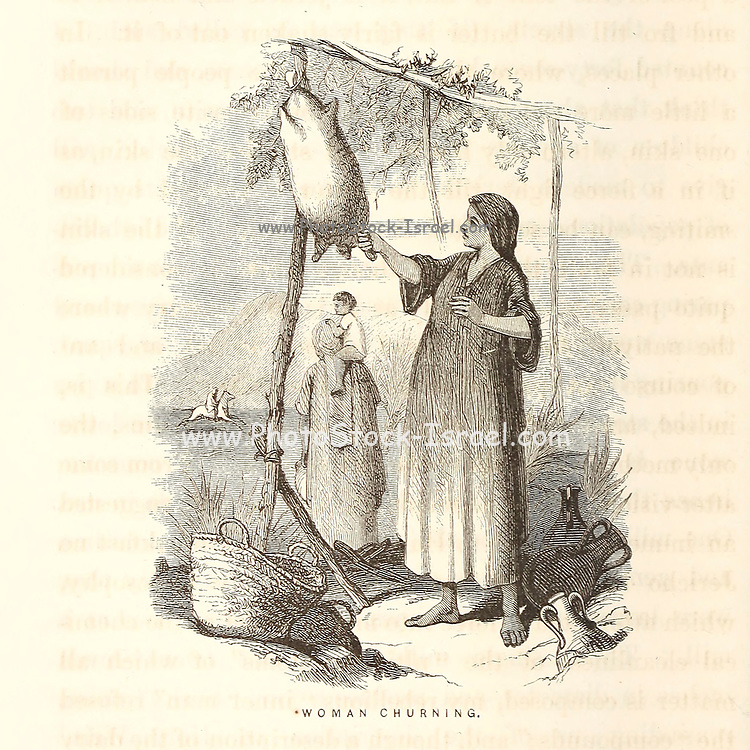 Woman Churning Wood Engravings from the book 'Palestine, past and present' with Biblical, Literary and Scientific Notices by Rev. Osborn, H. S. (Henry Stafford), 1823-1894 Published in Philadelphia, by J. Challen & son; in 1859