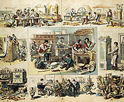 Various aspects of the ceramic industry from the making of bricks, tiles and drainage pipes, to the decoration of porcelain. Print c1870