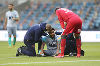 Blackburn Rovers' Dominic Samuel receives treatment<br /> <br /> Photographer Rob Newell/CameraSport<br /> <br /> The EFL Sky Bet Championship - Millwall v Blackburn Rovers - Tuesday July 14th 2020 - The Den - London<br /> <br /> World Copyright © 2020 CameraSport. All rights reserved. 43 Linden Ave. Countesthorpe. Leicester. England. LE8 5PG - Tel: +44 (0) 116 277 4147 - admin@camerasport.com - www.camerasport.com