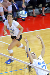23 November 2017:  Paige Aspinwall sets the ball for Cathryn Cheek during a college women's volleyball match between the Drake Bulldogs and the Indiana State Sycamores in the Missouri Valley Conference Tournament at Redbird Arena in Normal IL (Photo by Alan Look)