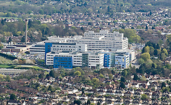© under license to London News Pictures.  07/04/2011. An aerial view of The John Radcliffe Hospital in Oxford, Oxfordshire, England.