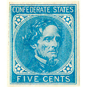 Confederate postage stamps, 5 cent blue (London print), general issue 1862, type 6 Postage stamp depicts Jefferson Davis printed in blue.