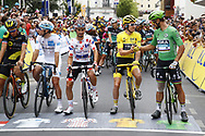 Julian Alaphilippe (FRA - QuickStep - Floors), Geraint Thomas (GBR - Team Sky) Yellow jersey, Peter Sagan (SVK - Bora - Hansgrohe) Green Jersey, during the 105th Tour de France 2018, Stage 21, Houilles - Paris Champs-Elysees (115 km) on July 29th, 2018 - Photo Luca Bettini / BettiniPhoto / ProSportsImages / DPPI