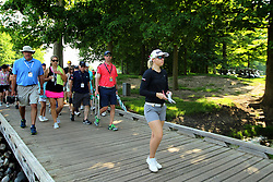May 26, 2018 - Ann Arbor, Michigan, United States - Jodi Ewart Shadoff of England crosses the footbridge on her way to the 7th hole during the third round of the LPGA Volvik Championship at Travis Pointe Country Club, Ann Arbor, MI, USA Saturday, May 26, 2018. (Credit Image: © Jorge Lemus/NurPhoto via ZUMA Press)