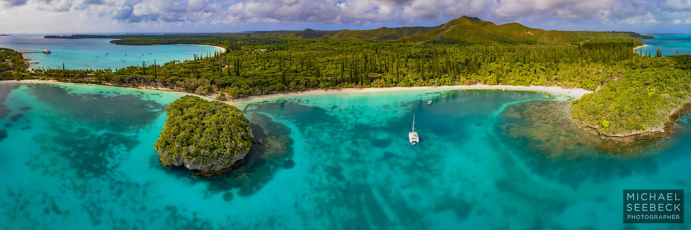 Aerial panoramic photograph of Kanumera Bay on the Isle of Pines.<br /> <br /> Limited Edition of 125