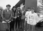 First All-Traveller Mini Marathon.    (R53)..1987..05.04.1987..04.05.1987..5th April 1987..Today saw the running of the first All-Traveller Mini Marathon in aid of Trocaire the World Aid Agency. The race was run over a 10k course in the Phoenix Park, Dublin. Bishop Eamon Casey a patron of the charity was on hand to lend support...Pictured are some of the girls who took part in the Mini Marathon.